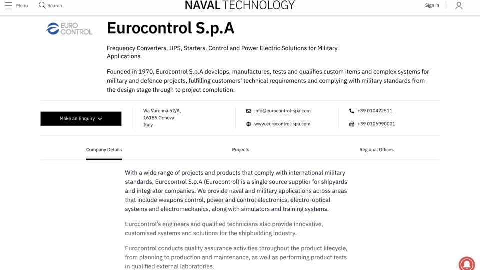 Eurocontrol on Naval Technology: About us