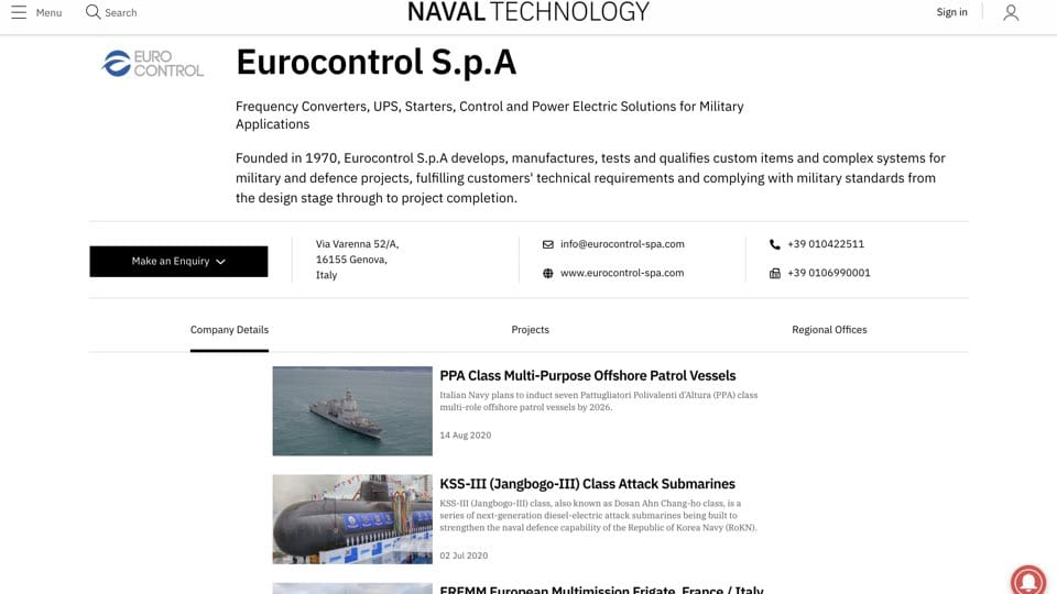 Eurocontrol on Naval Technology: our projects